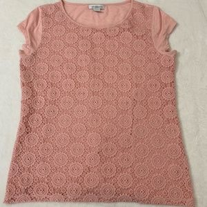 Liz Claiborne Large Pink Shirt With Pink Overlay